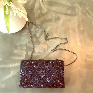 Glint hand beaded evening clutch with strap